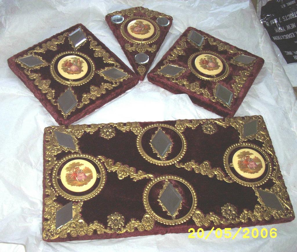 Vintage....Victorian Style Set Of 4 Wall Plaques Of Victorian Couples  Wine Plush Fabric Covered & Gold Embossed Metal Trim Victorian