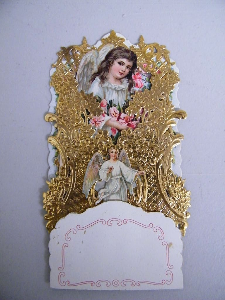 German Victorian Angel Pop-Up Greeting Card..Die-Cut..Gold Foil..Embossed..NOS..Mint