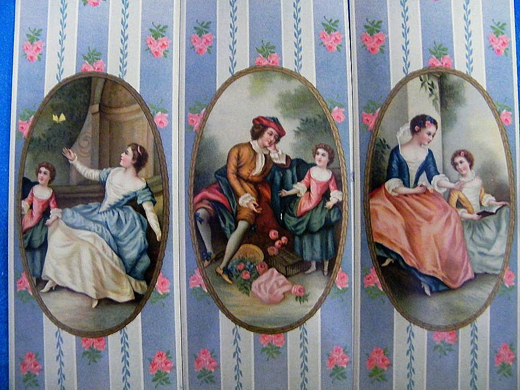 Victorian Box Decorations..Inserts..Victorian Family..Wallpaper Strip Ground..Excellent Condition