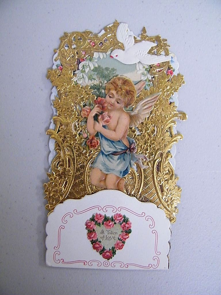 Victorian Friendship Card Boy Angel Blue Sash Dove..Die Cut..Gold Embossed..Germany..New Condition