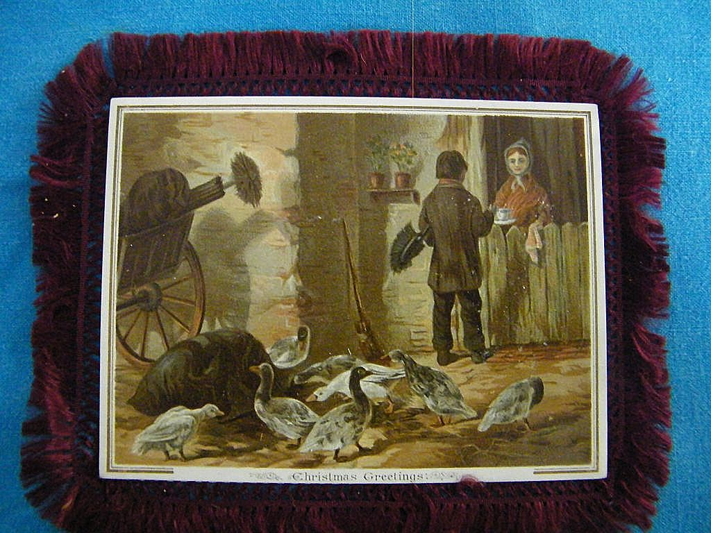 Victorian Silk Fringed Christmas Card..2 Sided..Happy New Year, Also..Excellent Condition!