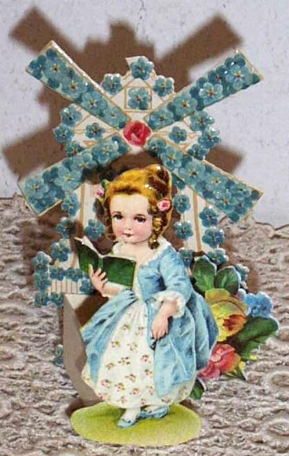 Victorian Girl Greeting Card..Windmill Of For-Get-Me-Nots..Fold-Out..Die-Cut..Embossed..Germany