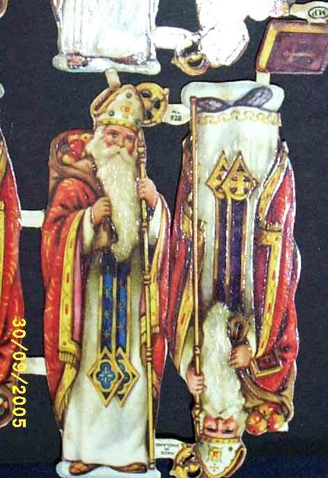 Vintage  Paper Scraps..St. Nicholas With.. Bible..Toy Bag..Staff..Die-Cut..Embossed..MP England2 Sets Of 6 Pieces Available