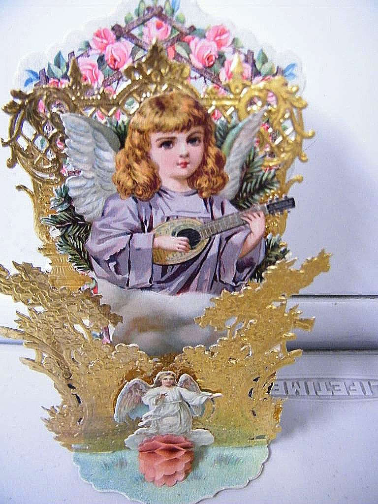 Victorian Pop-Up Angel Wearing Lavender Robe..Germany..NOS