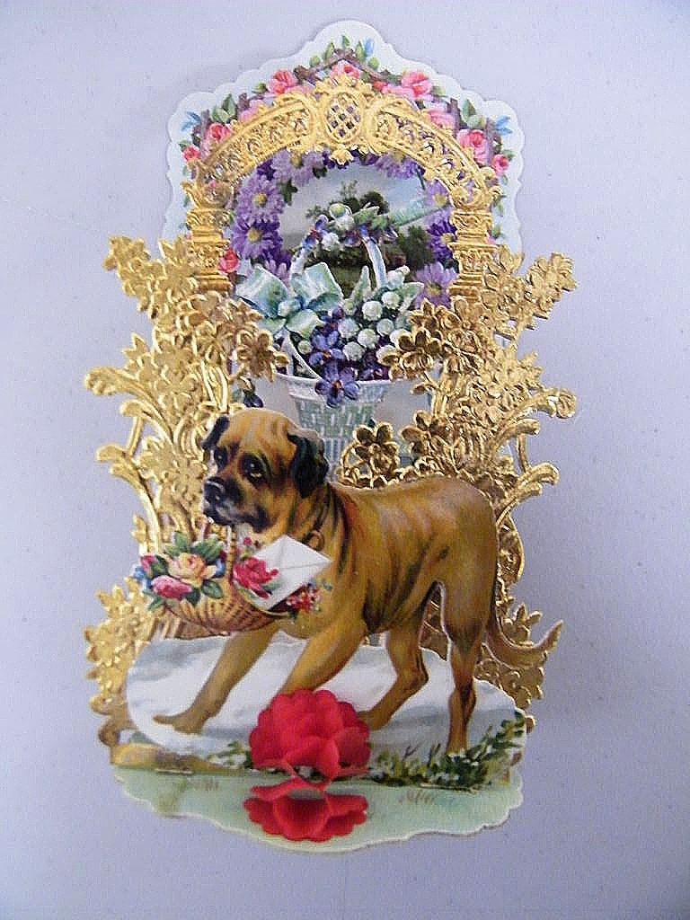 German Victorian  Dog..Light Brown..Pop-Up Greeting Card..Valentine..Die Cut:Gold Foil:Embossed..NOS