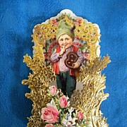Victorian Valentine Boy Holding Ginger Bread HEART Cookie..German..Die-Cut Embossed..Pop-Up..MINT