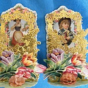 Antique Victorian Valentine..German Girl / Costume..Holding An Envelope With Heart Stamp..Pop-Up..Die-Cut..Embossed..Germany