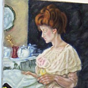 Oil Painting Of A  Victorian Woman Reading At A Podium..Very Special..Excellent Condition