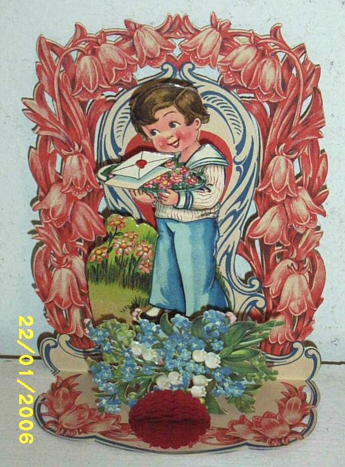 Antique Vintage Valentine..3-D: ..Boy With Tray Of Flowers..Pop_Out: Die-Cut..Embossed..Germany