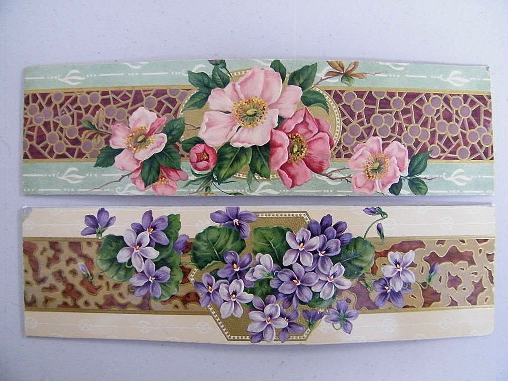 Set o 2 Victorian Embossed cardboard Box Decorations..Violets & Roses..Excellent Condition!