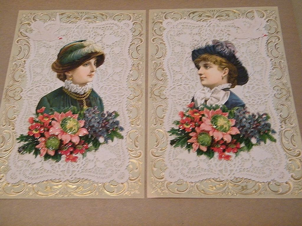 Victorian Picture Collages..Set..2 Victorian Woman Wearing Hats..Embossed & Die-Cut..Extraordinary..New Condition