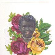 Black Victorian Baby Face...Die-Cut Embossed Scraps..Greeting Card..Antique..Germany