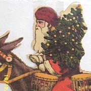 Large Victorian Santa On Donkey Paper Scraps...Hard To Find