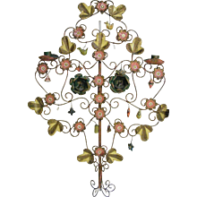 Mexican Metal Tole Wall Hanging...Tree Of Life...Candelbra