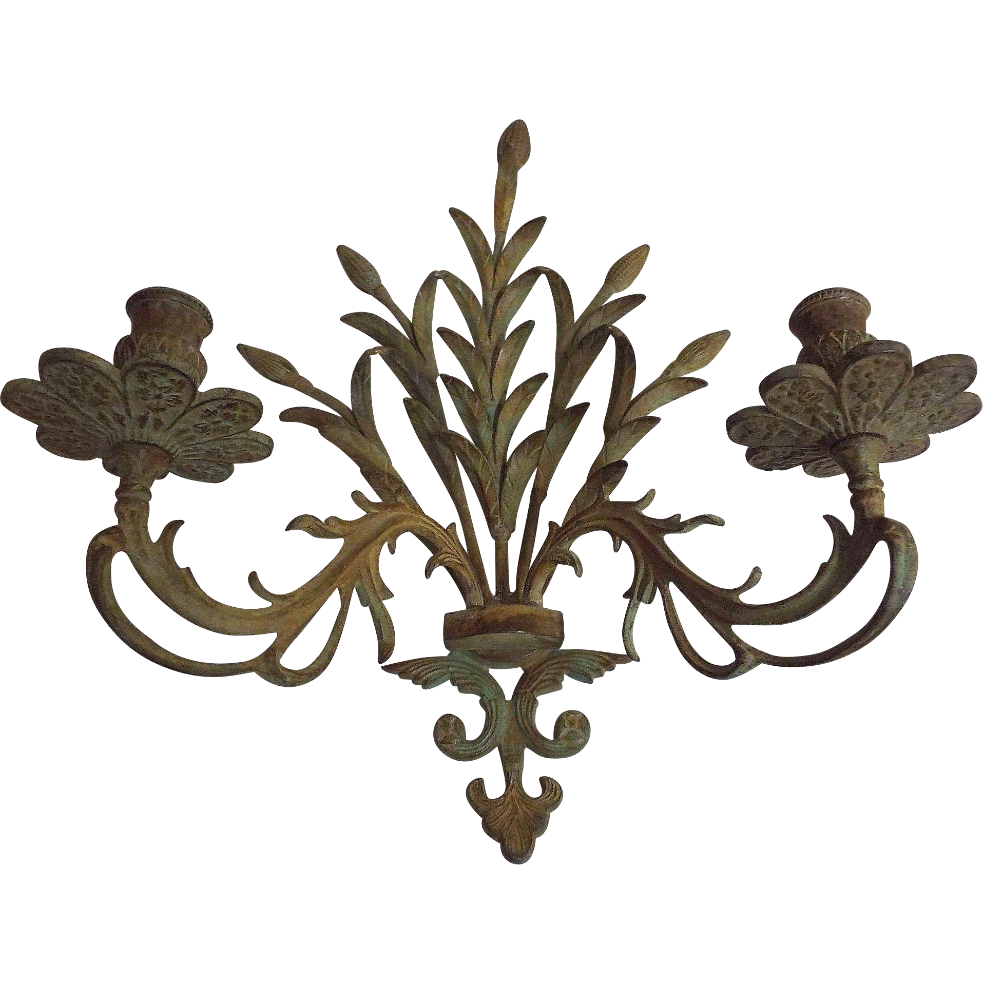 Mid-Century Metal Candle Wall Sconce In Shaft Of Wheat Design...Antique Light Green Color...1 Available