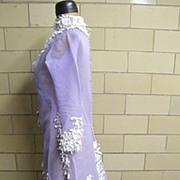 Lavender Dream.. Silk Organza Victorian Style Dress With Short Train & Embroidered Trim..Wedding Or Formal