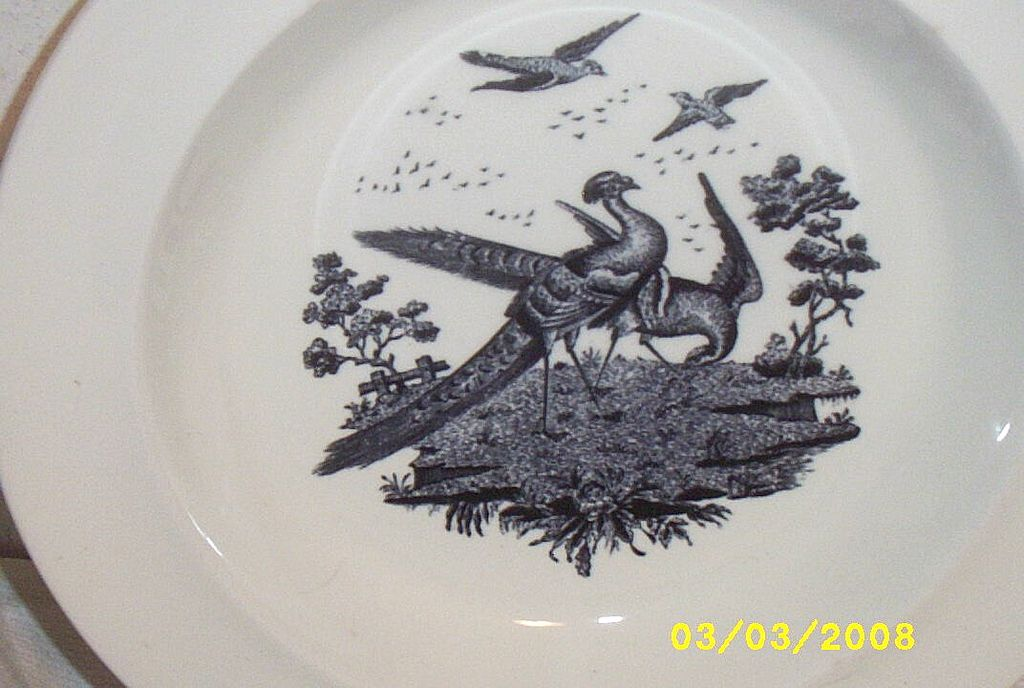 Antique...Soup Plates / Bowls..Liverpool Birds..Black Transferware..Wedgwood Etruria:Made In England:..2 Sets Available