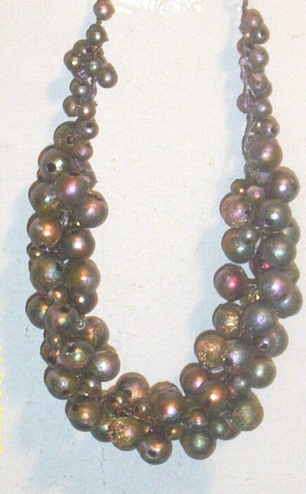 Artisan...Shades of Moss Green/Violet/Gold Wood Bead Collar Necklace..Crochet..Wire N Beads..Must See!!