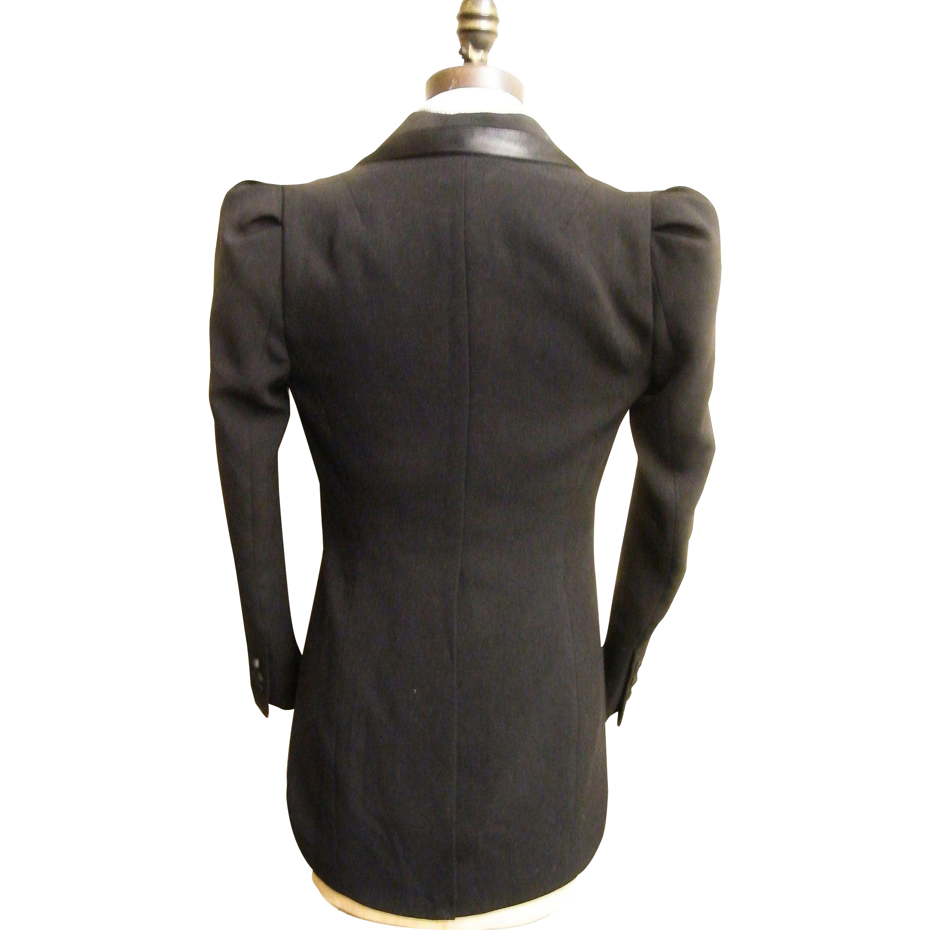 Women's Tuxedo Jacket With Tail...Black...Satin Trim..Robert Rodriguez..Size Small