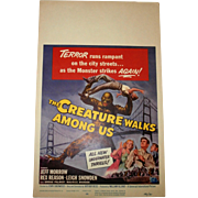 The Creature Walks Among Us.. Movie Poster/Window Card.. Universal,1956...