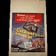 The Creature Walks Among Us.. Movie Poster/Window Card.. Universal,1956...