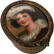 Late 19th Century Hand Painted China Portrait Brass Box...