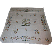 Hand Embroidered Linen Bedspread....