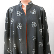 1950's Black Wool Jacket w/ Bead Trim....