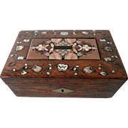 19th Century Rosewood Box with Pietra Dura Inset...