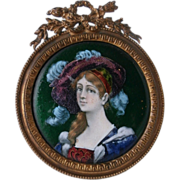 19th Century Enamel Portrait/ French Frame...