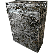 Silver Filigree Cigarette Box....