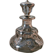 Glass perfume bottle w/Silver Overlay...
