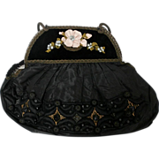 Embroidered Black Reticule...