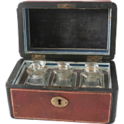 Early 20th Century Leather Perfume Casket...