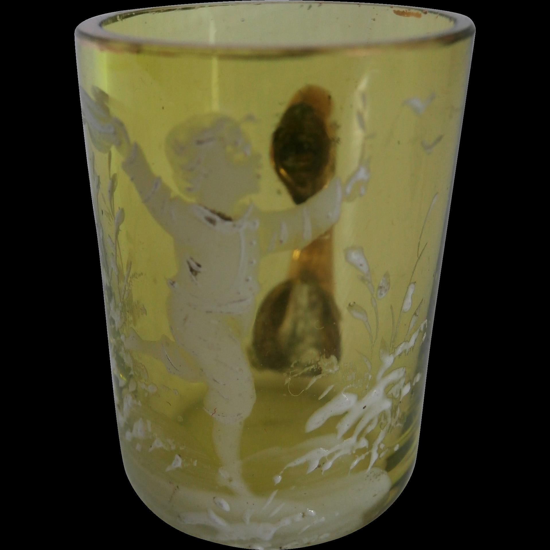 Miniature Mary Gregory Glass Mug... From