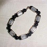 Striking Black and Silver Bracelet