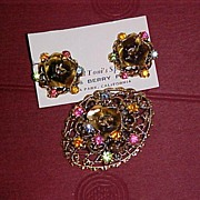 Rose Pin and Earrings