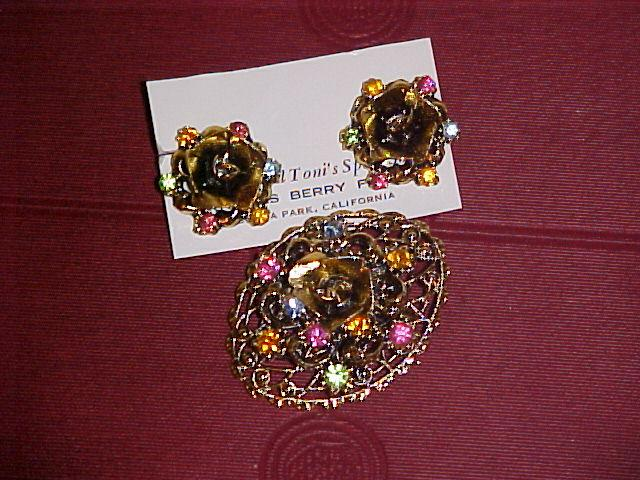 Rose Pin and Earrings