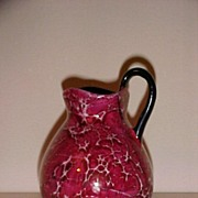 Czechoslovakian Crackle Glazed Pottery Pitcher
