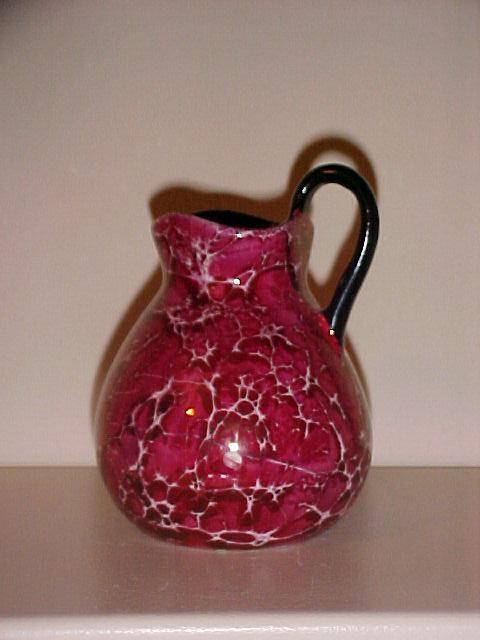 Czechoslovakian Crackle Glazed Pottery Pitcher