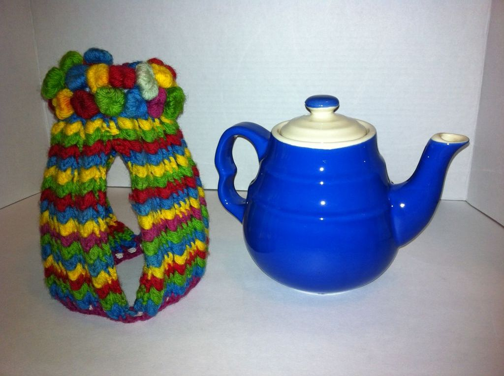 Blue Hall-type Pottery Teapot and Cozy