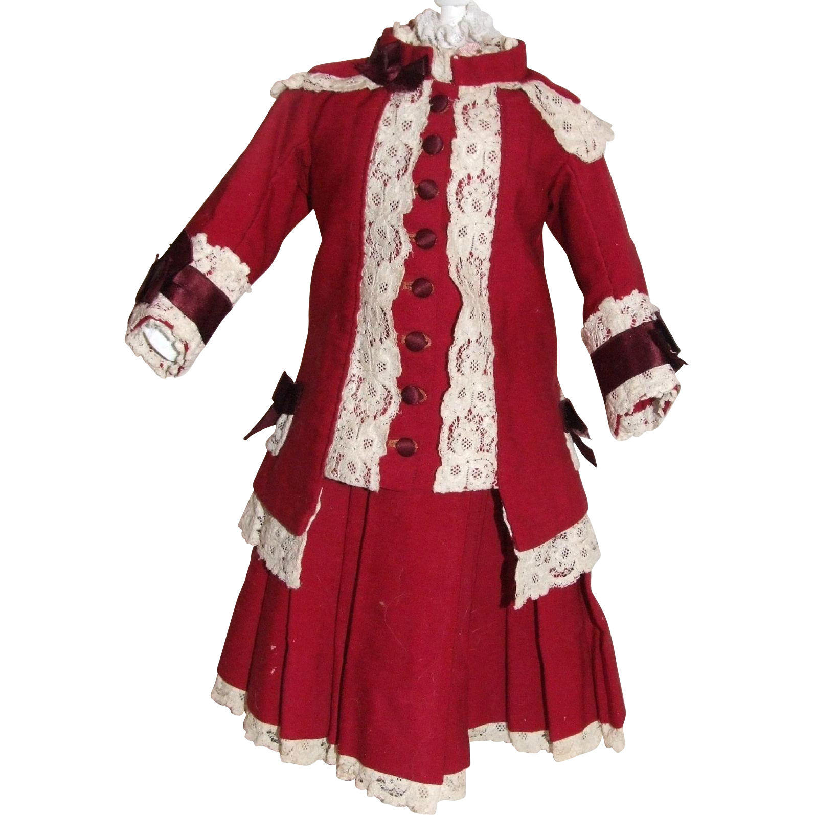 "Wonderful Antique 2 piece ruby red cashmere doll outfit for 22"" bebe"