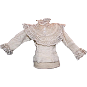 "Vintage cotton and lace blouse for 16"" French fashion"
