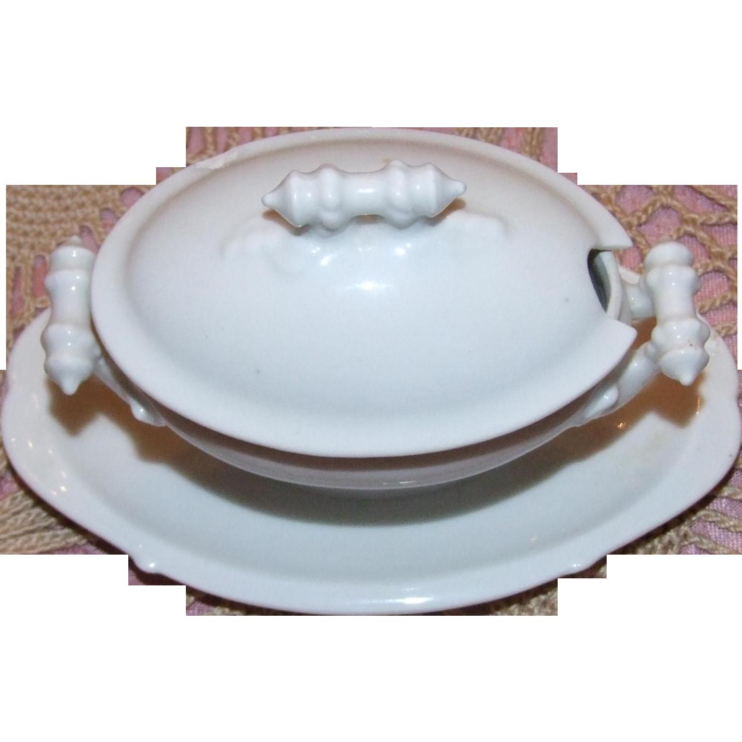 Vintage porcelain soup tureen for child or doll