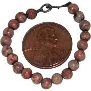 "3-1/2"" antique ""tiger skin"" jasper necklace"