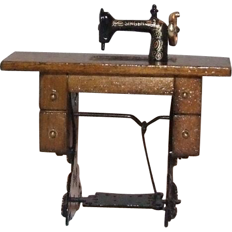 "Dollhouse 1"":1' size metal and wood sewing machine"