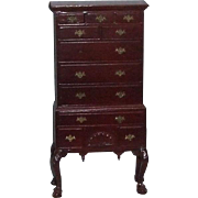 Mahogany finish miniature highboy