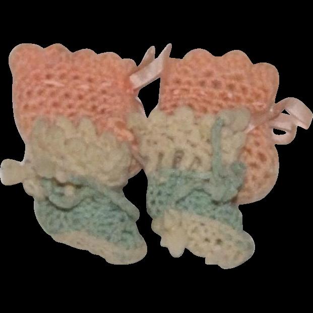 2 Pair antique wool doll booties