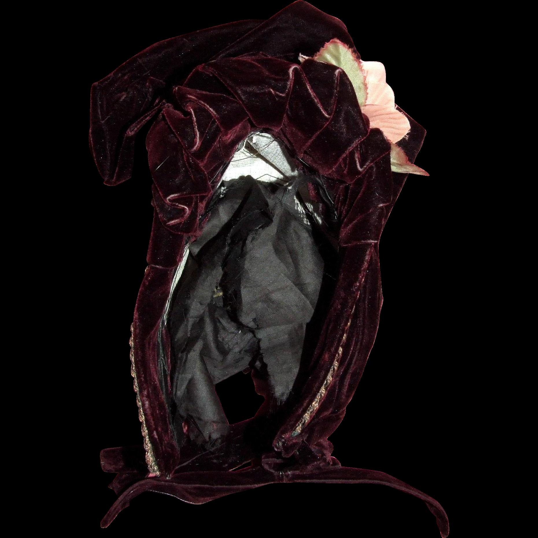 """Antique burgundy velvet Normandy bonnet for 14"""" HC"""