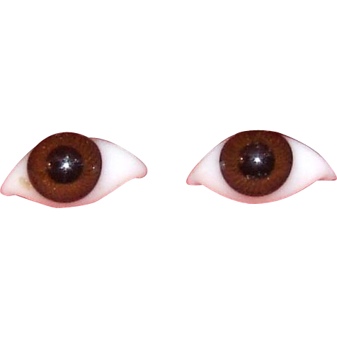 Antique pair 1883  paperweight Bru eyes, brown threaded